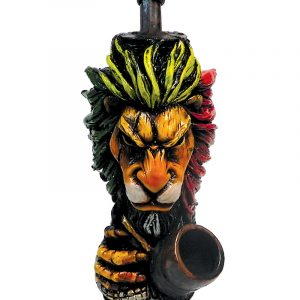 Handcrafted medium-sized tobacco smoking hand pipe of a lion head with a scar on one eye in Rasta colors.