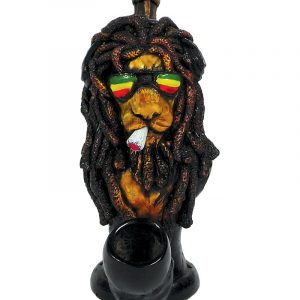 Handcrafted medium-sized tobacco smoking hand pipe of a smoking lion with dreads and sunglasses in Rasta colors.