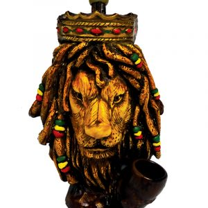 Handcrafted medium-sized tobacco smoking hand pipe of a lion king head with dreads and a crown in Rasta colors.