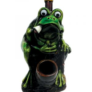Handcrafted medium-sized tobacco smoking hand pipe of a fat green smoking bullfrog toad with googly eyes and cane.