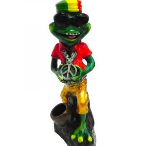 "Handcrafted medium-sized tobacco smoking hand pipe of a green ""cool"" frog with a hat, sunglasses, and peace sign chain in Rasta colors."