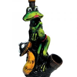 Handcrafted medium-sized tobacco smoking hand pipe of a sexy female frog with a mushroom and googly eyes.