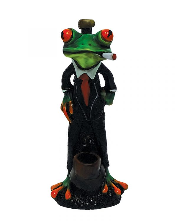 Handcrafted medium-sized tobacco smoking hand pipe of a green smoking tree frog wearing a tuxedo suit.