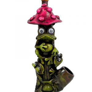 Handcrafted medium-sized tobacco smoking hand pipe of three green frogs with googly eyes under a red mushroom.