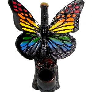 Handcrafted medium-sized tobacco smoking hand pipe of a butterfly in rainbow colors.