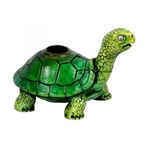 Handcrafted medium sized hand pipe of a green turtle with googly eyes.