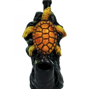 Handcrafted medium-sized tobacco smoking hand pipe of a swimming sea turtle on a blue wave.
