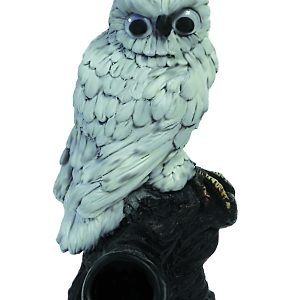Handcrafted medium-sized tobacco smoking hand pipe of a white owl bird with googly eyes.