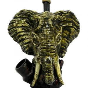 Handcrafted medium-sized tobacco smoking hand pipe of a large gray elephant head.