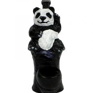 Handcrafted medium-sized tobacco smoking hand pipe of a waving black and white panda bear with a smile.