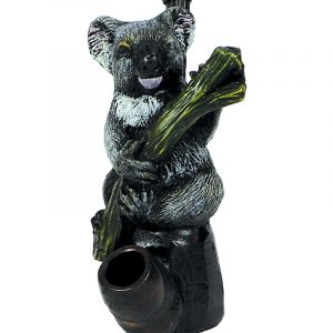 Handcrafted medium-sized tobacco smoking hand pipe of an Australian koala bear holding a eucalyptus plant branch.