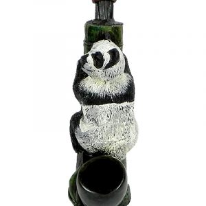 Handcrafted medium-sized tobacco smoking hand pipe of a black and white panda bear hugging a bamboo plant.