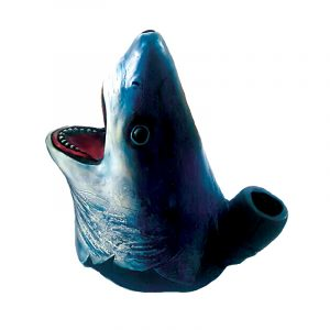 Handcrafted medium-sized tobacco smoking hand pipe of a great white shark head. Smoke from the mouthpiece on its nose.