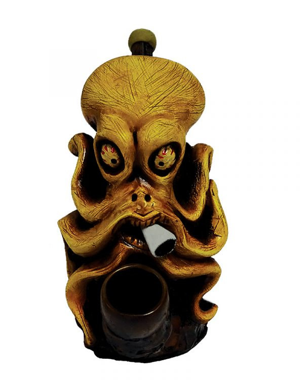 Handcrafted medium-sized tobacco smoking hand pipe of a stoned smoking octopus with red eyes and a joint.