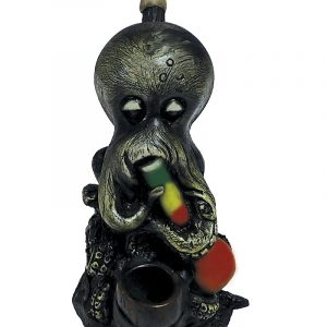 Handcrafted medium-sized tobacco smoking hand pipe of a stoned smoking octopus with a waterpipe in Rasta colors.