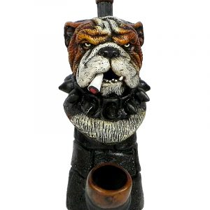Handcrafted medium-sized tobacco smoking hand pipe of a smoking bulldog head with a spiked collar.