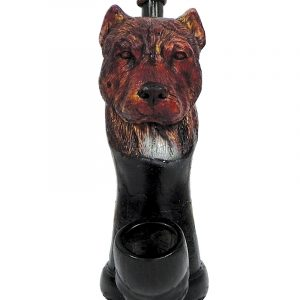 Handcrafted medium-sized tobacco smoking hand pipe of a red nose pit bull dog head.
