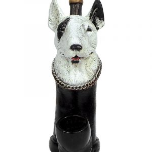 Handcrafted medium-sized tobacco smoking hand pipe of a white bull terrier dog head.