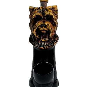 Handcrafted medium-sized tobacco smoking hand pipe of a brown Yorkie head.