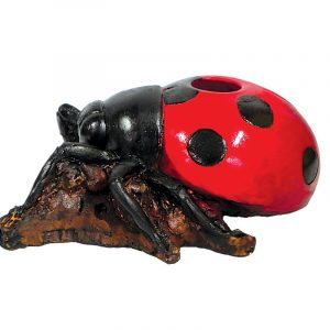 Handcrafted medium-sized tobacco smoking hand pipe of a red and black ladybug.