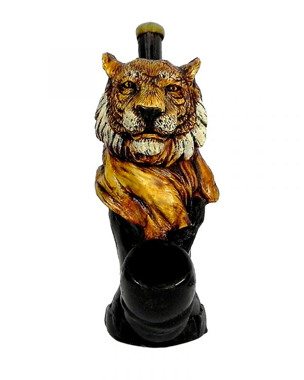 Handcrafted medium-sized tobacco smoking hand pipe of a beige and white tiger head.