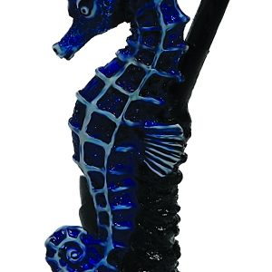 Handcrafted medium-sized tobacco smoking hand pipe of a blue seahorse.