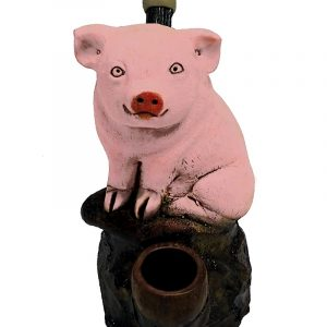 Handcrafted medium-sized tobacco smoking hand pipe of a pink pig.