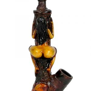 Handcrafted medium-sized tobacco smoking hand pipe of a sexy nude stripper girl with dropped panties and big booty straddling on pole.