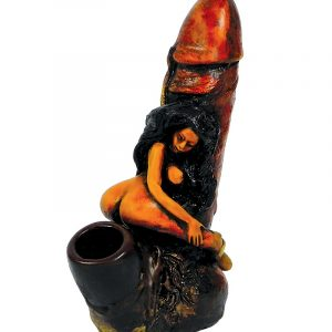 Handcrafted medium-sized tobacco smoking hand pipe of a sexy nude girl straddling and sitting on a penis.
