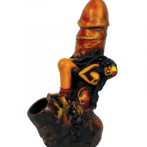 Handcrafted medium-sized tobacco smoking hand pipe of a sexy nude girl with Rasta dreads bent over in doggy style position sitting on a penis.