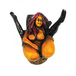 Handcrafted medium-sized tobacco smoking hand pipe of a sexy nude girl in boots masturbating with legs up.