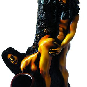 Handcrafted medium-sized tobacco smoking hand pipe of a couple having sex in doggy style position, with woman bent over in front of man.