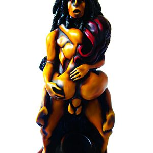 Handcrafted medium-sized tobacco smoking hand pipe of a couple having sex in standing cowgirl position, with woman sitting on man.