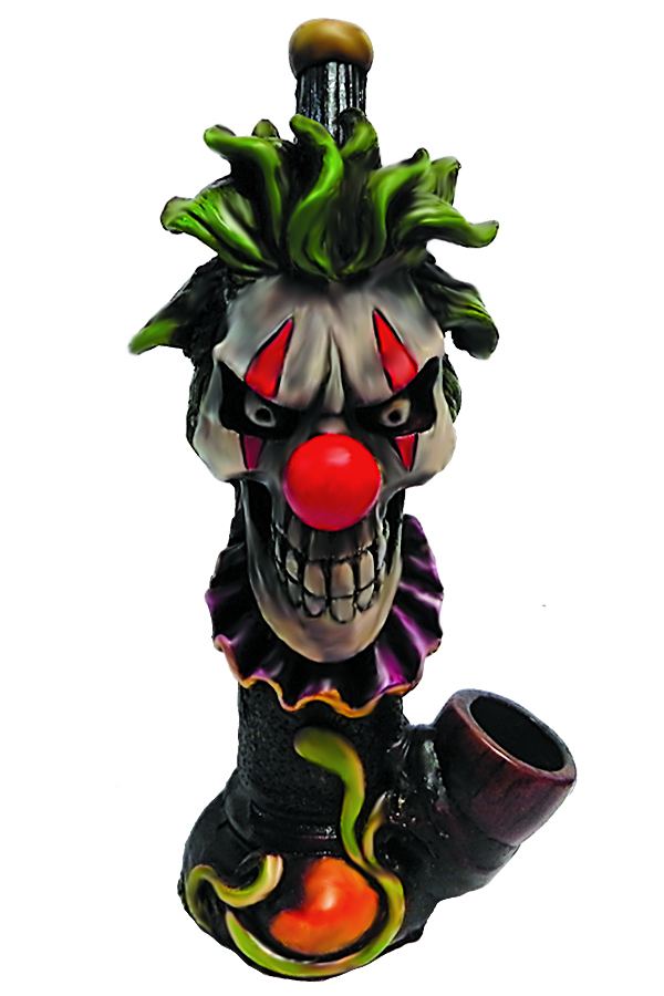 Handcrafted medium-sized tobacco smoking hand pipe of an evil scary clown head with a creepy smile, green hair, and red nose.