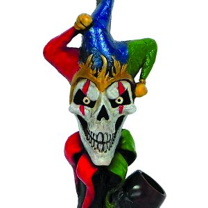 Handcrafted medium-sized tobacco smoking hand pipe of an evil mad jester skull head with red, blue, and green suit.