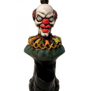 Handcrafted medium-sized tobacco smoking hand pipe of an evil clown head with a creepy smile and red nose.