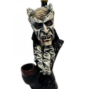 """Handcrafted medium-sized tobacco smoking hand pipe of a classic gray Dracula vampire with bloody fangs, named """"Alucard""""."""