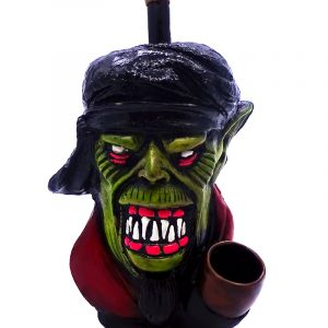 Handcrafted medium-sized tobacco smoking hand pipe of an ugly green goblin head dressed up for a war.