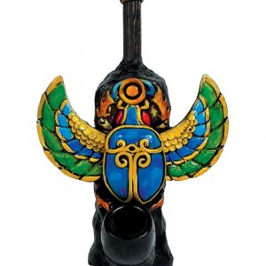 Handcrafted medium-sized tobacco smoking hand pipe of a multicolored Egyptian scarab beetle.