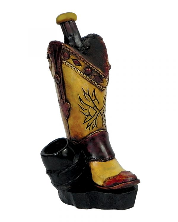 Handcrafted medium-sized tobacco smoking hand pipe of a brown cowboy boot.