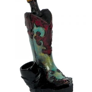 Handcrafted medium-sized tobacco smoking hand pipe of a turquoise blue cowgirl boot.
