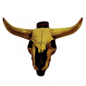 Handcrafted medium-sized tobacco smoking hand pipe of a longhorn bull head skull.