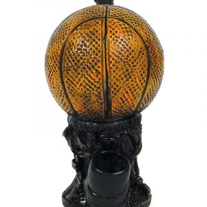 Handcrafted medium-sized tobacco smoking hand pipe of an orange basketball ball.
