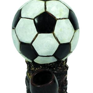 Handcrafted medium-sized tobacco smoking hand pipe of a black and white soccer ball.