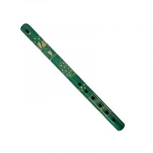 Handmade colored bamboo wooden recorder flute music instrument with handcarved tribal pattern and animal/nature design in teal green color.