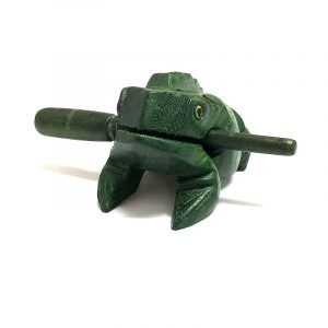 Handmade wooden croaking frog figurine rasp music instrument with stick in green color.