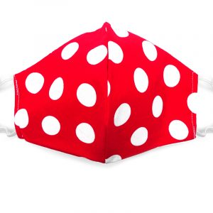 Handmade large polka dot pattern print fabric face mask with 100% cotton and elastic straps in red and white adult size.