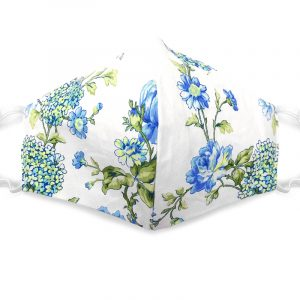 Handmade floral print fabric face mask with 100% cotton and elastic straps in white, green, and blue adult size.