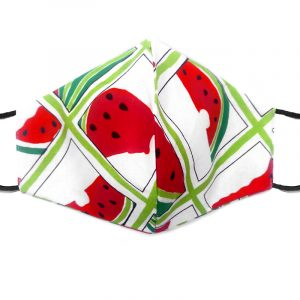Handmade watermelon pattern print fabric face mask with 100% cotton and elastic straps in white, red, and lime green square pattern adult size.
