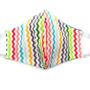 Handmade chevron striped pattern print fabric face mask with 100% cotton and elastic straps in white and multicolored adult size.